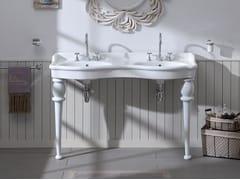 Lavabo a consolle doppio in ceramicaPROVENCE '800 | Lavabo doppio - BLEU PROVENCE