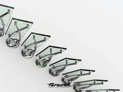 FARAONE, TWIN Scala a sbalzo in acciaio inox e vetro