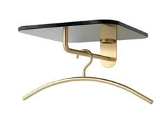 Appendiabiti a parete in ottone con mensola in vetro FRISBI | Appendiabiti in ottone -