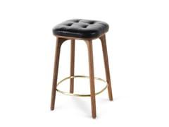 Sgabello alto da bar in legno con poggiapiedi utility stool h