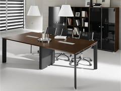 Tavolo da riunione rettangolare in acciaio e legno PRATIKO | Tavolo da riunione - Pratiko