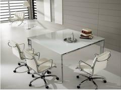 Tavolo da riunione quadrato in vetro laccato PRATIKO | Tavolo da riunione in vetro - Pratiko