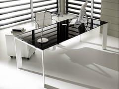 Scrivania direzionale rettangolare in vetro laccato PRATIKO | Scrivania in vetro - Pratiko