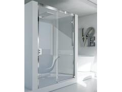 RELAX, MYRES SC1 Box doccia angolare in alluminio e vetro con porta scorrevole