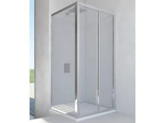 RELAX, NEW LYRA SC1 + F Box doccia angolare in alluminio e vetro con porta scorrevole