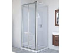 RELAX, NEW LYRA PS + F Box doccia angolare in alluminio e vetro con porta a soffietto