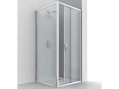 RELAX, EVOLUTION SC1 + F4 Box doccia angolare in alluminio e vetro con porta scorrevole