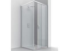 RELAX, EVOLUTION SF + F1 Box doccia angolare in alluminio e vetro con porta scorrevole