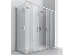 RELAX, EVOLUTION SC2 + F4 Box doccia angolare in cristallo con porta scorrevole