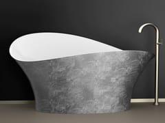 Glass Design, FLOWER STYLE SILVER Vasca da bagno centro stanza foglia argento