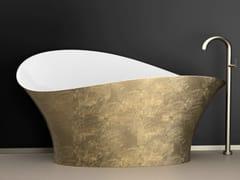 Glass Design, FLOWER STYLE GOLD Vasca da bagno centro stanza foglia oro