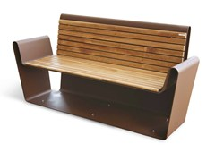 Panchina in acciaio Corten™ con braccioli CLUB A-B   Panchina -