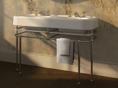 Lavabo a consolle doppio con porta asciugamani CRYSTAL MEMPHIS -