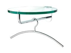 Appendiabiti a parete in acciaio con mensola in vetro FRISBI | Appendiabiti in acciaio -