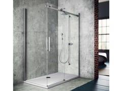Box doccia angolare con piatto con porta scorrevole FLUIDA FW+FP - Showering