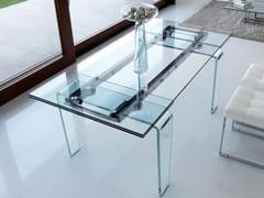 Tavolo allungabile rettangolare da pranzo in cristallo in stile moderno GHOST   Tavolo in vetro - Life Class