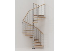 Fontanot, GENIUS 010 + 2:Easy Scala a chiocciola modulare in acciaio inox e legno