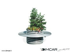 DIMCAR, Fioriera Azalea con panca circolare Fioriera per spazi pubblici in metallo
