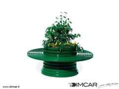 DIMCAR, Versilia con panca circolare Fioriera per spazi pubblici in metallo