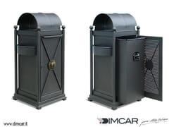 Portarifiuti in metallo per esterni con coperchio con portacenereCestone Virgo - DIMCAR