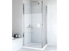 RELAX, LIGHT AB + AB Box doccia angolare in alluminio e vetro con porta a battente