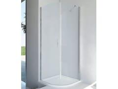 RELAX, LIGHT RF Box doccia semicircolare in alluminio e vetro con porta a battente