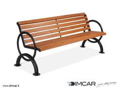 DIMCAR, Panchina Lesina con braccioli Panchina in metallo in stile classico con braccioli con schienale