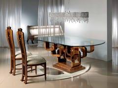 Tavolo da pranzo ovale in legno e vetroGLAMOUR KING - CARPANELLI
