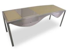Scrivania in acciaio inox design con cassetti ORO INCA - handmade metal furniture by Ici et Là