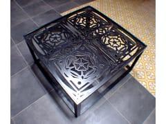 Tavolino basso quadrato in acciaio FLOR DE LYS - handmade metal furniture by Ici et Là