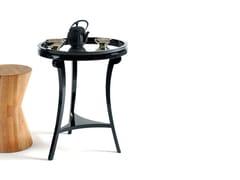 Tavolino di servizio laccato rotondo in legno e vetro5TH - BOCA DO LOBO