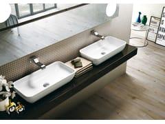 Lavabo da appoggio rettangolare in ceramica in stile moderno PASS 60 | Lavabo da appoggio - Pass