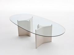 Tavolo ovale in legno e vetro TEE | Tavolo ovale -