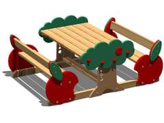 Tavolo per spazi pubblici in pino con panchine integrate MELA   Tavolo per spazi pubblici con panchine integrate - Tuttifrutti