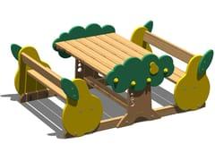 Tavolo per spazi pubblici in pino con panchine integratePERA   Tavolo per spazi pubblici con panchine integrate - LEGNOLANDIA