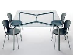Tavolo quadrato in acciaio e cristallo CONVITO | Tavolo quadrato -