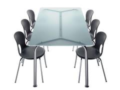 Tavolo rettangolare in acciaio e cristallo CONVITO | Tavolo rettangolare -