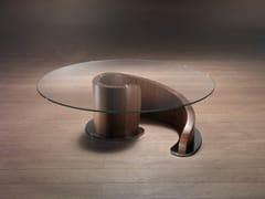 Tavolino basso rotondo in legno e vetroMINERVA | Tavolino da salotto - CARPANELLI