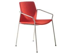 Sedia impilabile in multistrato design con braccioli KAI | Sedia con braccioli - KAI