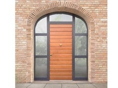 Porta d'ingresso blindata in rovere ad arco con pannelli in vetro ELITE - 16.5065 M60Vip - Professional