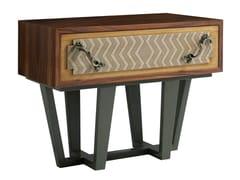 Comodino rettangolare in legno e metallo con cassettiPUNK | Comodino in legno - LOLA GLAMOUR