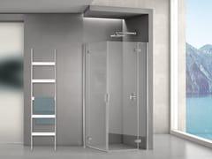 Cabina doccia in acciaio inox e vetro con porta a battentePURA R 5000 | Box doccia in acciaio inox e vetro - DUKA