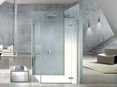 Cabina doccia in acciaio inox e vetro con porta a battentePURA R 5000 | Box doccia in acciaio inox - DUKA