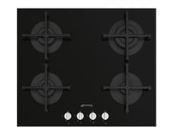 Piano cottura a gas da incasso semi filo top in vetroPV264N - SMEG