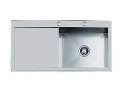 Lavello semi filo top in acciaio inox con gocciolatoioQUADRA rag.1VDX(SX)+SC.S/FT B/RUB - FOSTER
