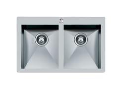 Lavello a 2 vasche filo top in acciaio inoxQUADRA rag.2V.FT B/RUB.INOX - FOSTER