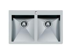 Lavello a 2 vasche semi filo top in acciaio inoxQUADRA rag.2V.S/FT B/RUB.INOX - FOSTER