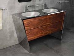 Mobile lavabo doppio in acciaio inox e legnoQUATTORDICI | Mobile lavabo doppio - COMPONENDO