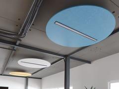 Pannello acustico a sospensione in tessuto riciclato con illuminazione integrataR · PET | Pannello acustico a sospensione con illuminazione integrata - PLANNING SISPLAMO