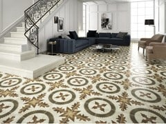 Flooring with encaustic effect
